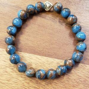 Blue Opal w/ Bronzite Marbled Quartz Bead Bracelet